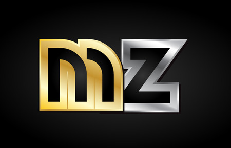 MZ M Z gold golden silver alphabet letter metal metallic grey black white background combination join joined together logo vector creative company identity icon design template modern
