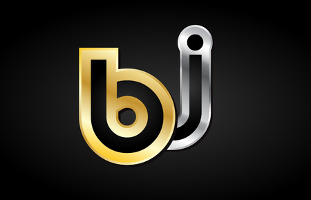 BJ B J gold golden silver alphabet letter metal metallic grey black white background combination join joined together logo vector creative company identity icon design template modern