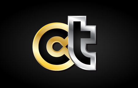 CT C T gold golden silver alphabet letter metal metallic grey black white background combination join joined together logo vector creative company identity icon design template modern