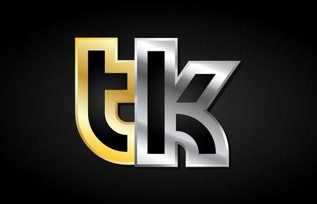TK T K gold golden silver alphabet letter metal metallic grey black white background combination join joined together logo vector creative company identity icon design template modern Logó