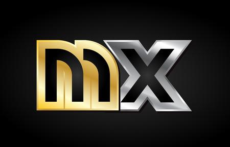 MX MX gouden gouden zilveren alfabet brief metalen metallic grijs zwart witte achtergrond combinatie join samen logo vector creatief bedrijf identiteit pictogram ontwerpsjabloon modern Stock Illustratie