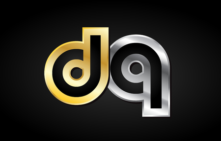 DQ D Q gold golden silver alphabet letter metal metallic grey black white background combination join joined together logo vector creative company identity icon design template modern