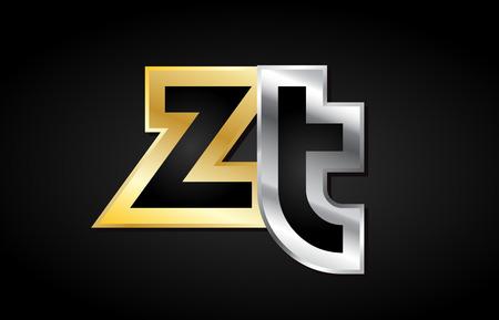 ZT ZT altın gümüş alfabe harfler metalik gri siyah beyaz birleşmek bir araya geldikleri katılmış logo vektör yaratıcı şirket kimlik simge tasarım şablon modern