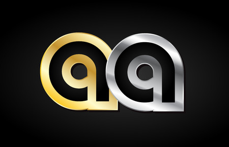 AA A A gold golden silver alphabet letter metal metallic grey black white background combination join joined together logo vector creative company identity icon design template modern