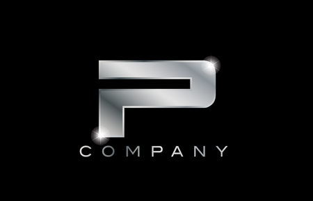 P metal metallic silver logo on a black blackground
