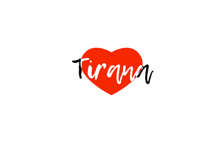 Logo or banner for European capital Tirana of Albania with a red love heart suitable for tourism or touristic promotion. Illustration