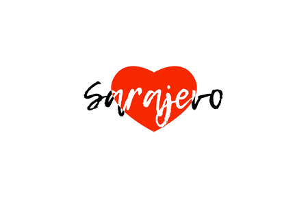 Logo or banner for European capital Sarajevo of Bosnia and Herzegovina with a red love heart suitable for tourism or touristic promotion.