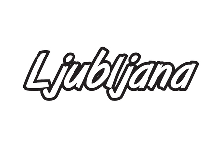 Logo text word typography design for European capital city Ljubljana with black color on white background.