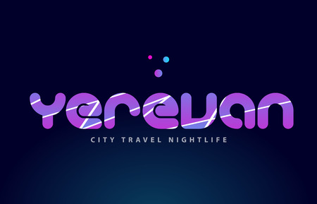 Yerevan logo text word typography design for European capital city with colored texture suitable for a brochure or print.