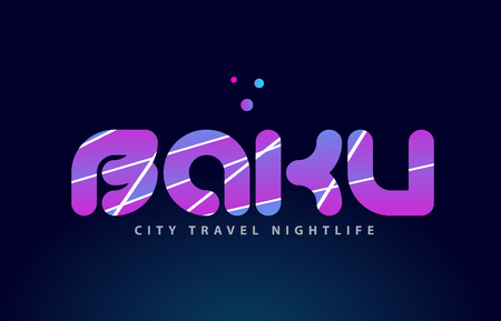 Baku logo text word typography design for European capital city with colored texture suitable for a brochure or print.