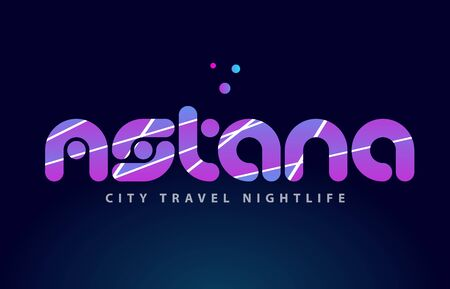 Astana logo text word typography design for European capital city with colored texture suitable for a brochure or print.