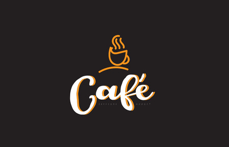 Cafe word text on a black background with a coffee cup symbol suitable as a banner or postcard.