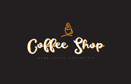 Coffee shop word text on a black background with a coffee cup symbol suitable as a banner or postcard.