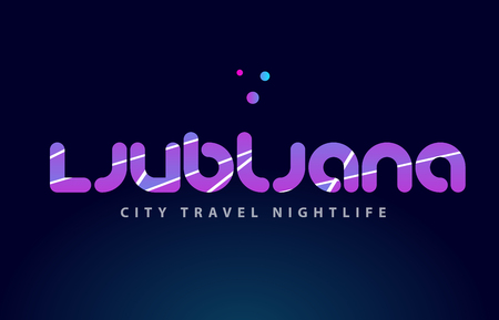 Ljubljana logo text word typography design for European capital city with colored texture suitable for a brochure or print. Stock Vector - 86847136