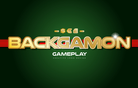 Backgammon text with gold texture on a green background suitable as a postcard or banner design for a card game.