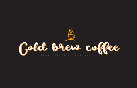 Cold brew coffee word text on a black background with a coffee cup symbol suitable as a banner or postcard.