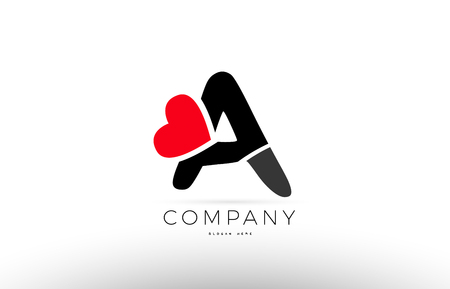 Company Alphabet Letter A Logo Design With Red Love Heart Symbol