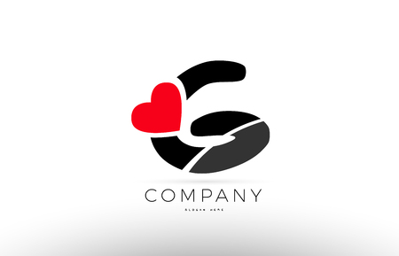 Company Alphabet Letter G Logo Design With Red Love Heart Symbol Vector