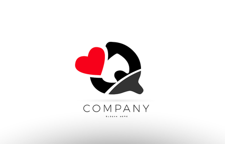 Company Alphabet Letter Q Logo Design With Red Love Heart Symbol Vector