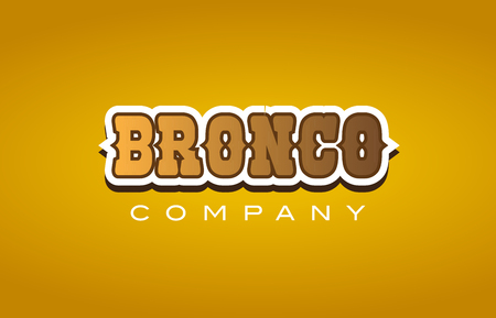 bronco western style XXXXXXX text word logo design on yellow background with brown color Illustration