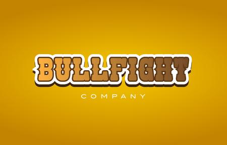 会社洋風闘牛の雄牛戦い茶色と黄色の背景のテキスト単語ロゴ デザイン