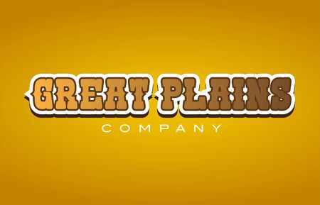 Company western style great plains text word logo design on yellow background with brown color
