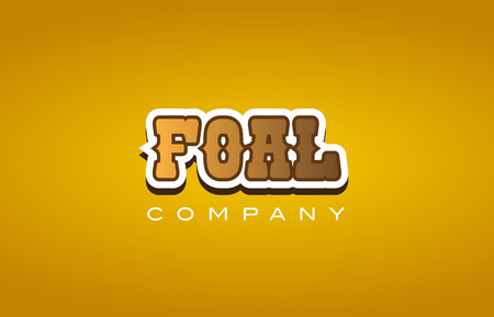 Company western style foal text word logo design on yellow background with brown color