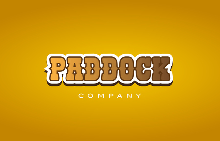 Company western style paddock text word logo design on yellow background with brown color