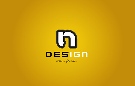 design of bold alphabet letter n with white color and black contour on yellow background suitable for a company or business