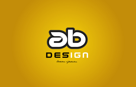 design of bold alphabet letter combination ab a b with white color and black contour on yellow background suitable for a company or business Illustration