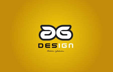 design of bold alphabet letter combination ag a g with white color and black contour on yellow background suitable for a company or business