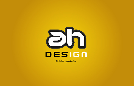 design of bold alphabet letter combination ah a h with white color and black contour on yellow background suitable for a company or business Illustration