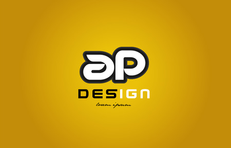ap: design of bold alphabet letter combination ap a p with white color and black contour on yellow background suitable for a company or business