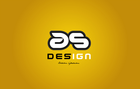 화이트 컬러와 노란색 배경에 검은 컨투어를 굵게 알파벳 문자 조합의 디자인 회사 또는 비즈니스에 적합