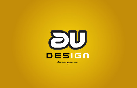 design of bold alphabet letter combination av a v with white color and black contour on yellow background suitable for a company or business