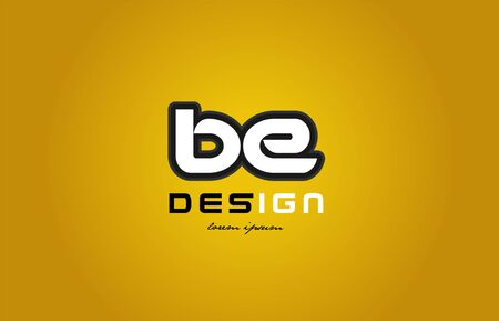 design of bold alphabet letter combination be b e  with white color and black contour on yellow background suitable for a company or business