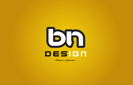 design of bold alphabet letter combination bn b n with white color and black contour on yellow background suitable for a company or business Illustration