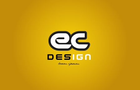design of bold alphabet letter combination ec e c with white color and black contour on yellow background suitable for a company or business