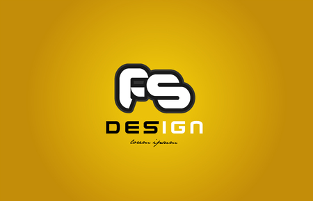 design of bold alphabet letter combination fs f s with white color and black contour on yellow background suitable for a company or business
