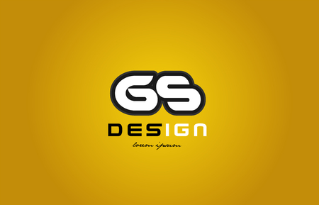 design of bold alphabet letter combination gs g s with white color and black contour on yellow background suitable for a company or business Illusztráció