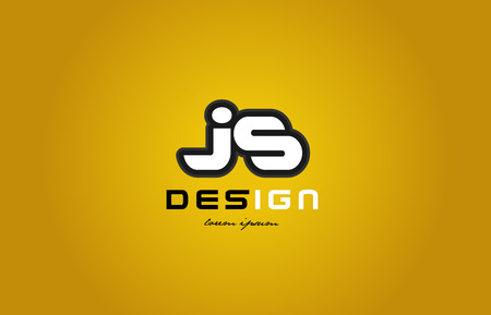 design of bold alphabet letter combination js j s  with white color and black contour on yellow background suitable for a company or business