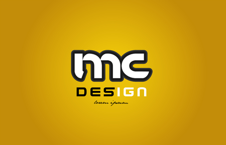 design of bold alphabet letter combination mc m c with white color and black contour on yellow background suitable for a company or business