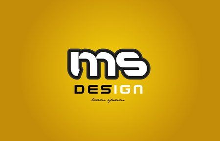 design of bold alphabet letter combination ms m s with white color and black contour on yellow background suitable for a company or business