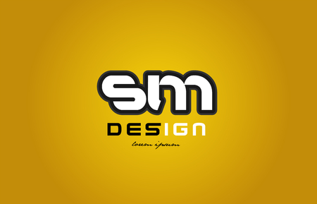 design of bold alphabet letter combination sm s m with white color and black contour on yellow background suitable for a company or business