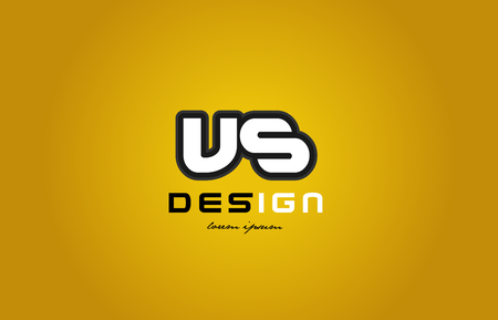 vs: design of bold alphabet letter combination vs v s with white color and black contour on yellow background suitable for a company or business Illustration