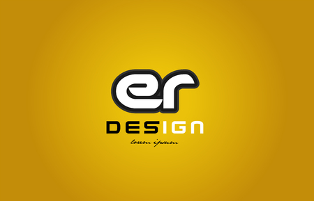 design of bold alphabet letter combination er e r with white color and black contour on yellow background suitable for a company or business
