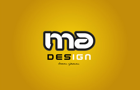 design of bold alphabet letter combination ma m a with white color and black contour on yellow background suitable for a company or business