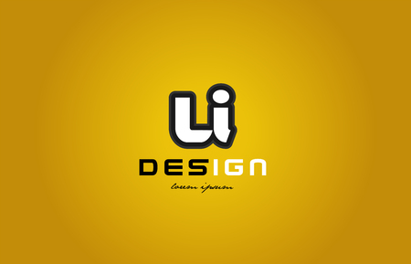 design of bold alphabet letter combination li l i with white color and black contour on yellow background suitable for a company or business Ilustração