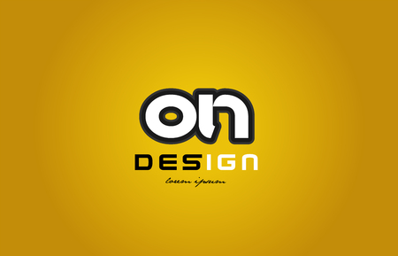 design of bold alphabet letter combination on o n with white color and black contour on yellow background suitable for a company or business Illustration