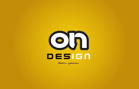 적합: design of bold alphabet letter combination on o n with white color and black contour on yellow background suitable for a company or business 일러스트